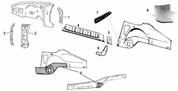 Inner Rocker Panel and Frame Rust Repair Parts for 911