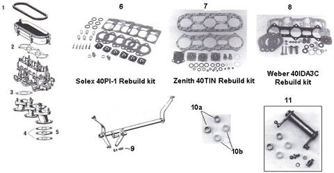 Porsche 911 Solex, Zenith and Weber Carburetor Parts