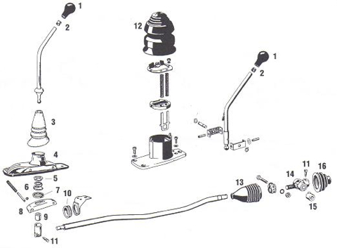 Porsche 912 Shift Lever Components. Sometimes called the