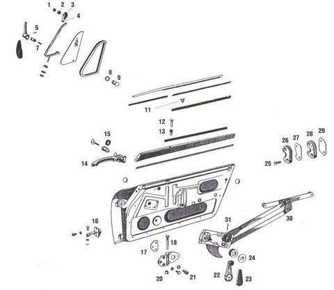 Porsche 912 Door Parts and Window Regulator Mechanism
