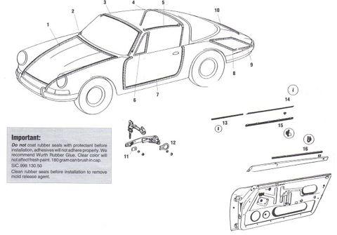 Porsche 912 Targa Body Rubber Weatherstripping and Seals