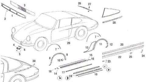 Porsche 911 Exterior Body Trim and Decos