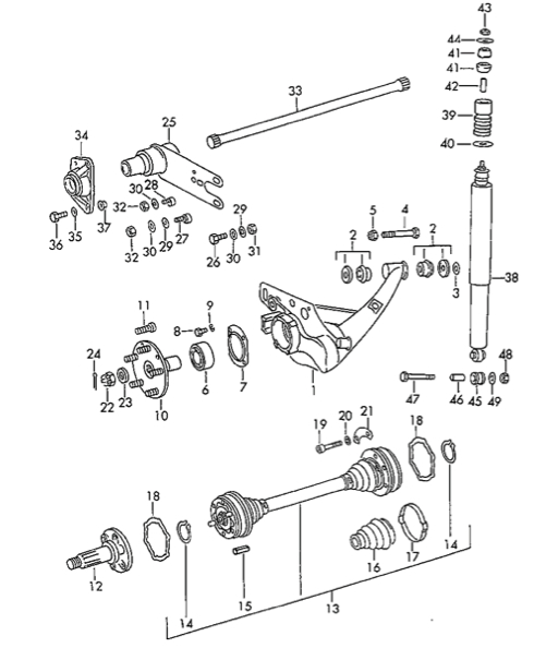 Porsche 911 911SC and 930 Turbo Rear Suspension Parts Bushngs