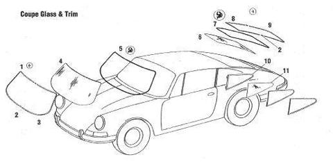 Porsche 911 912 Coupe Glass Rubber Seals and Trim
