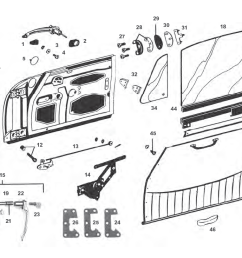 porsche 912 door parts and window regulator mechanism including window regulator door lock mechanism door handle diagram for 1970 [ 1125 x 735 Pixel ]