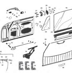 porsche 912 door parts and window regulator mechanism including door handles and trim [ 1125 x 735 Pixel ]