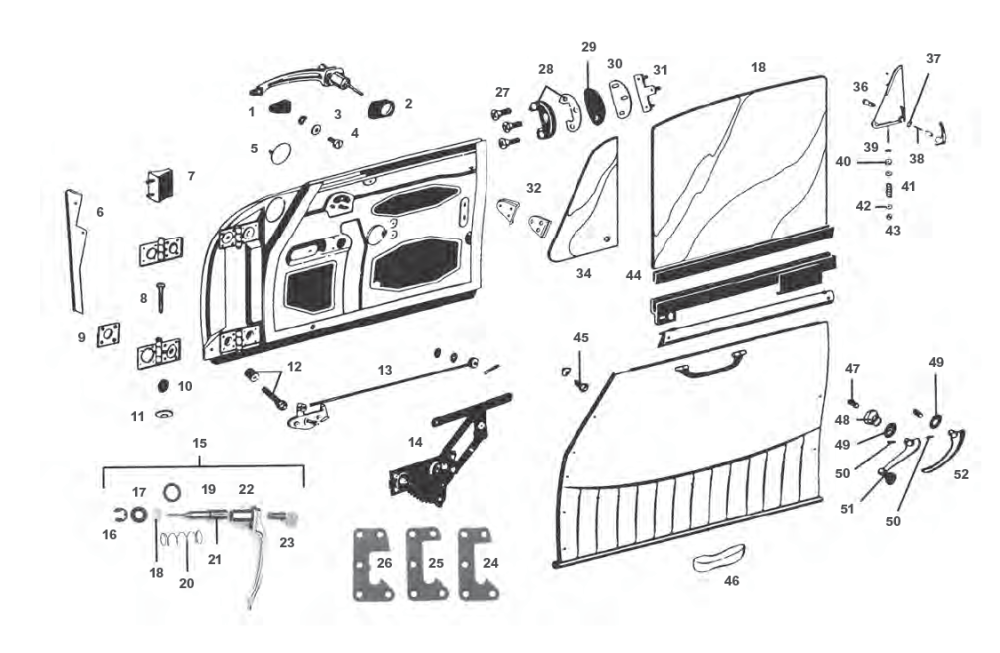 medium resolution of porsche 912 door parts and window regulator mechanism including door handles and trim