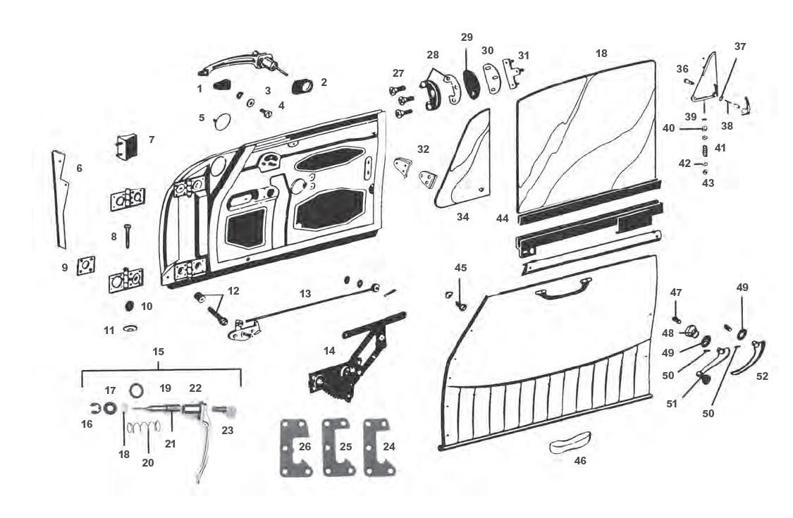 hight resolution of porsche 912 door parts and window regulator mechanism including window regulator door lock mechanism door handle diagram for 1970
