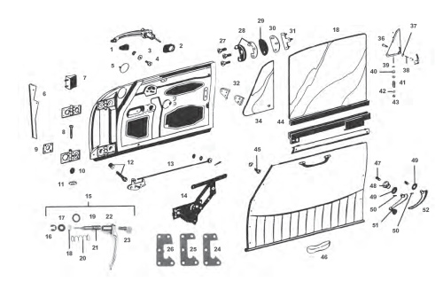 small resolution of porsche 912 door parts and window regulator mechanism including window regulator door lock mechanism door handle diagram for 1970
