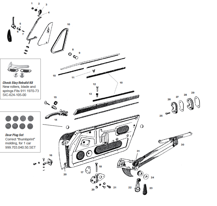 Porsche 911 Door Internal Parts, Including Handles and