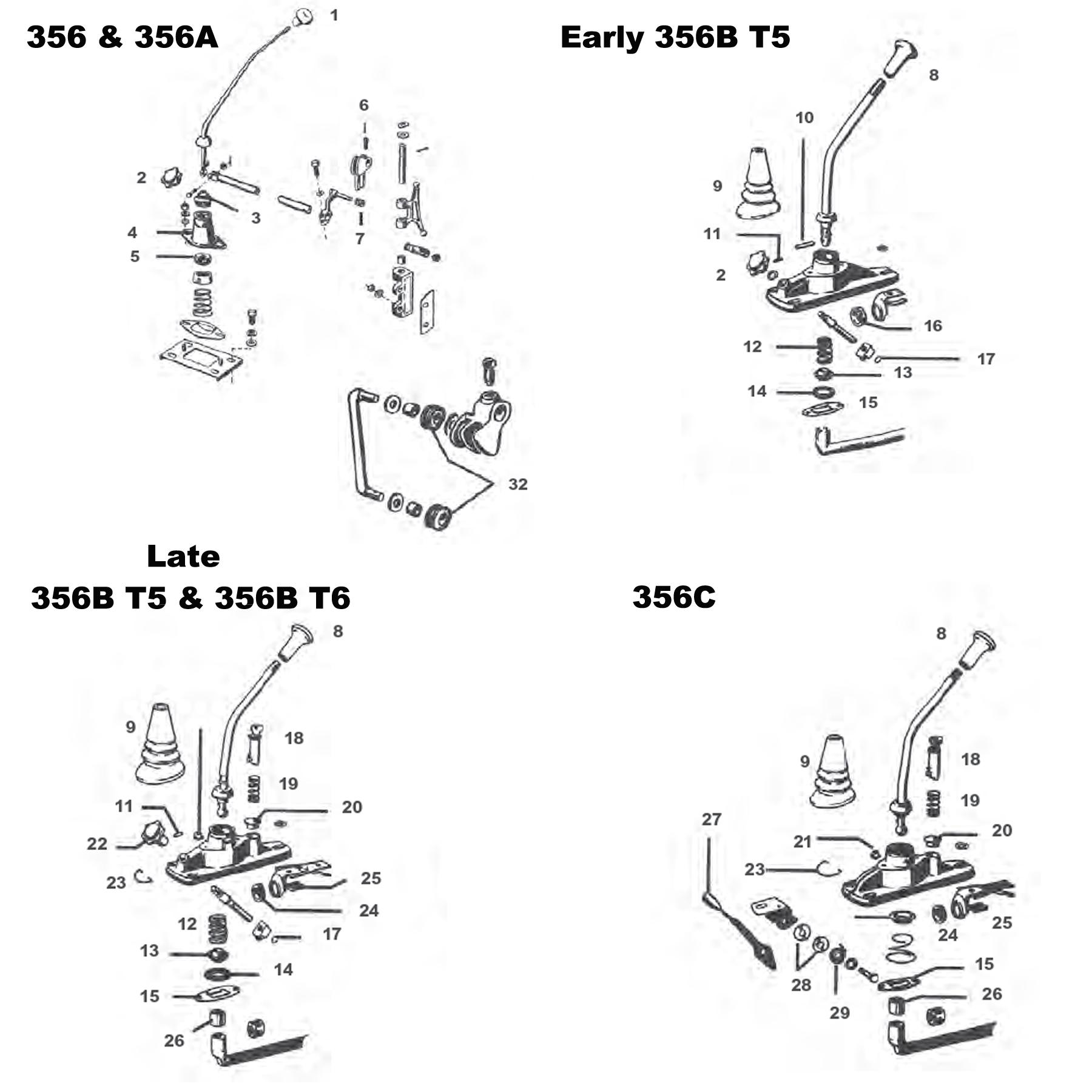 Porsche 356 Gear Shift Lever Components And Parts
