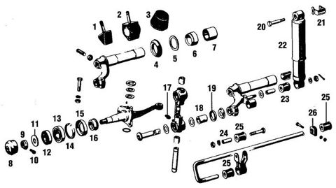 Porsche 356 Front Suspension Components. Balljoints, Bushings