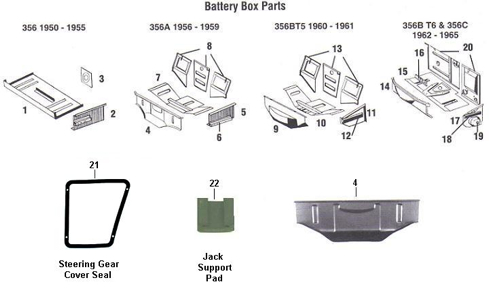 Porsche 356 PreA 356A 356B T5 T6 and 356C Battery Boxes
