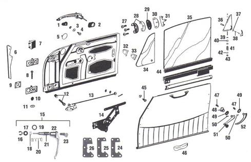 Porsche 356 Door Parts, Trim and Window Mechanism