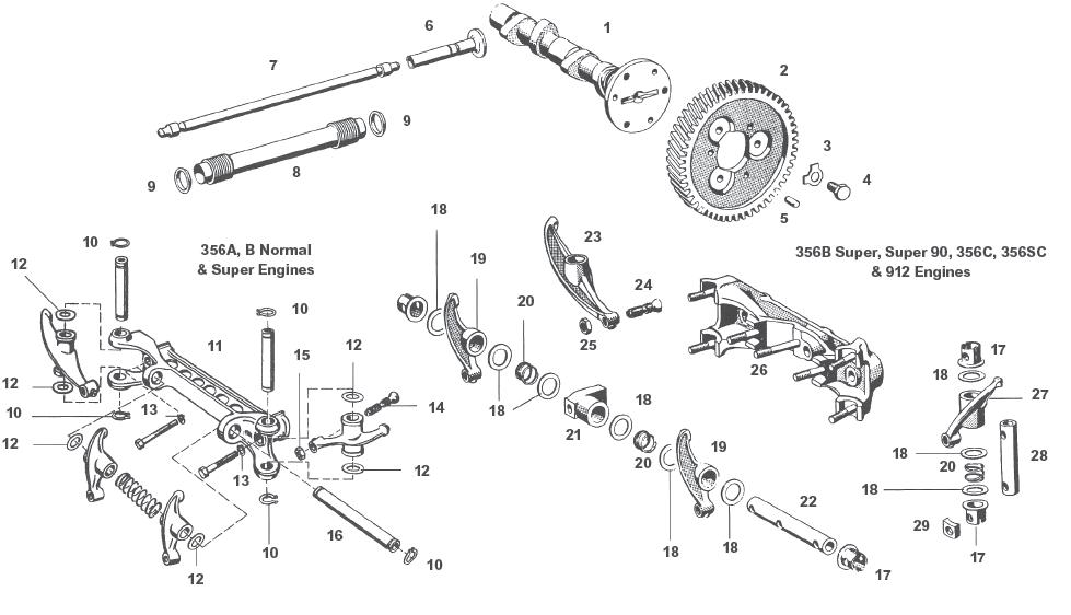 Porsche 356 Rocker Shafts Lifters and Arms