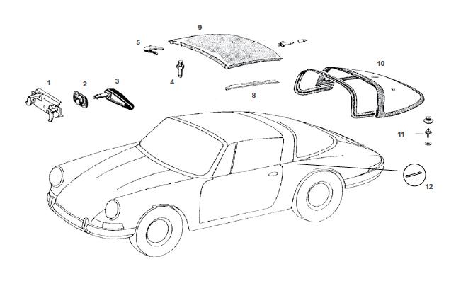 Porsche 912 Targa Top Replacement Parts
