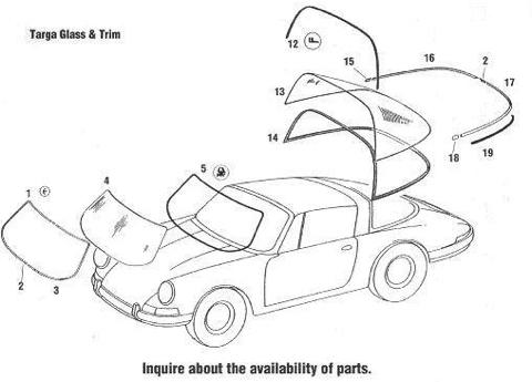 Porsche 911 Targa Windshields, Glass Window Rubber Seals