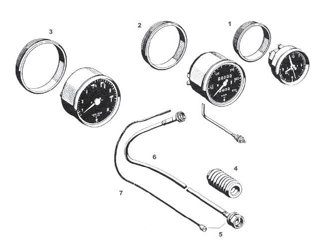 Porsche 911 Dashboard Instrument Gauge Components