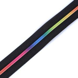 Regenbogen Reißverschluss Spirale, Breite 3mm, schwarz
