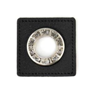 Ösenpatch schwarz/silber, Glitzersteine, 9mm