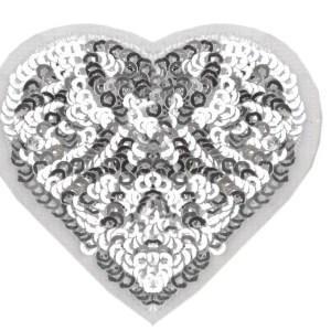 Applikation zum Aufbügeln, Herz mit Pailletten, silber