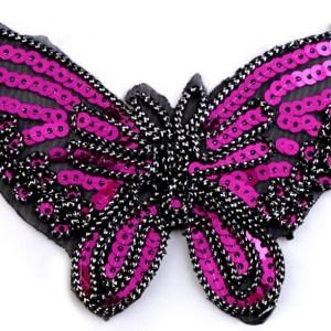 Applikation zum Aufbügeln, Schmetterling mit Pailletten, pink
