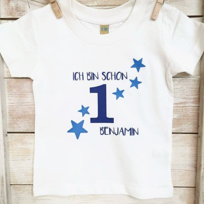 Geburtstagsshirt, T-Shirt, Sterne, Geburtstag, erster Geburtstag, zweiter Geburtstag, dritter Geburtstag, vierter Geburtstag, fünfter Geburtstag, Themenshirt, Kindershirt