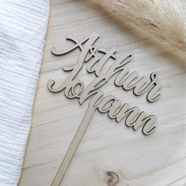 Caketopper, Dekoration Torte, Holzschild, Namensschild, Holz, Holzschild, Stofftiger, personalisiertes Geschenk, Personalisiertes Schild