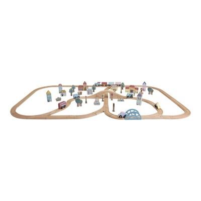 little dutch, holzeisenbahn xxl starter-set, holzeisenbahn mit schienen, holzspielzeug, eisenbahn mit schienen, zug mit schienen, stofftiger