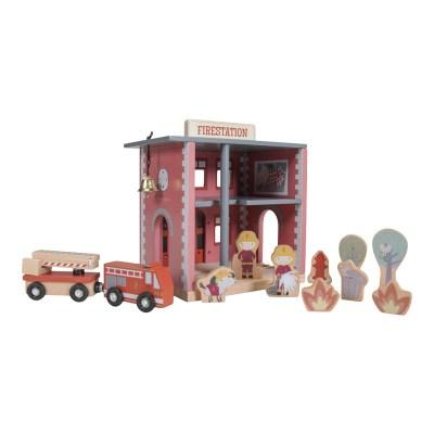 little dutch, Feuerwehrhaus, holzeisenbahn xxl starter-set, holzeisenbahn mit schienen, holzspielzeug, eisenbahn mit schienen, zug mit schienen, stofftiger