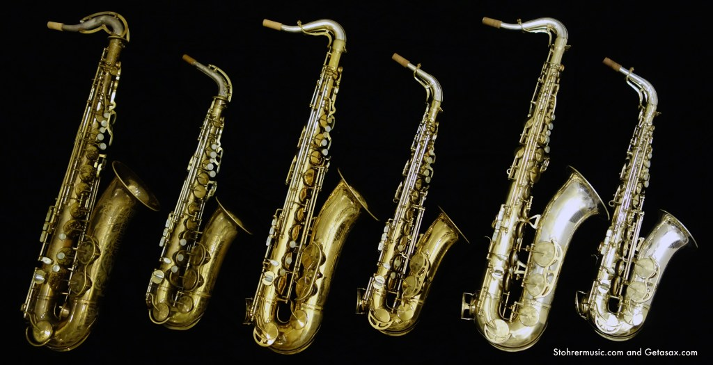 From L-R, all are original finish: King Zephyr Special tenor, King Zephyr Special alto, King Super 20 tenor full pearls, King Super 20 alto full pearls, King Super 20 Silver-Sonic tenor gold plate full pearls, King Super 20 Silver-Sonic alto original silver plate full pearls.