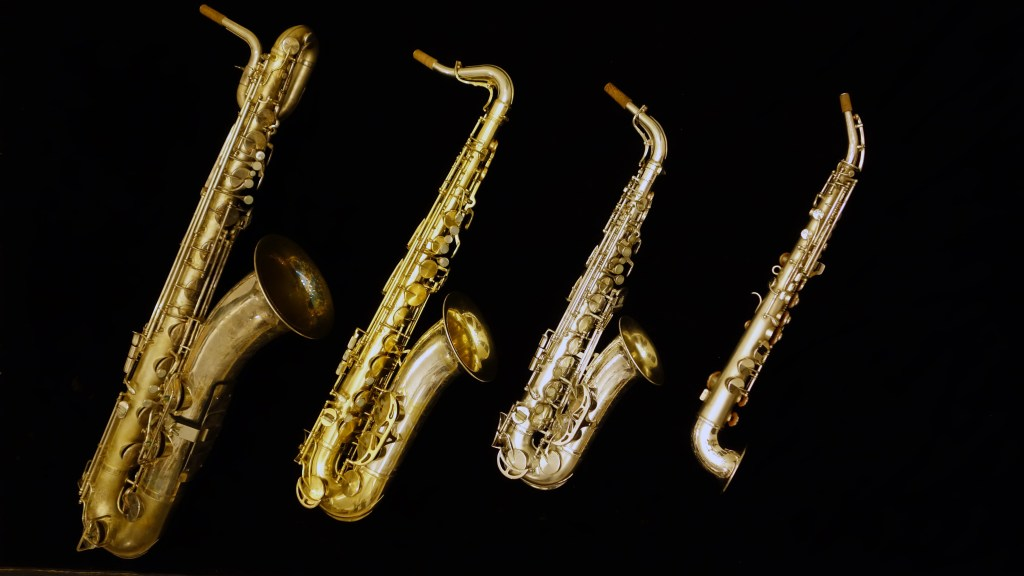King Super 20 baritone, King Super 20 tenor, King super 20 alto, and King Saxello soprano saxophone.