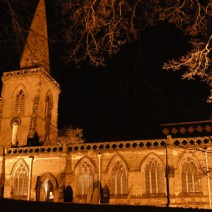 The Church of St Margaret of Antioch (floodlit at night)