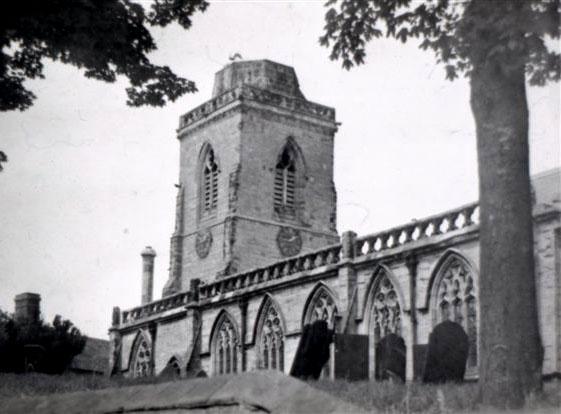 Church with spire removed during WWII to allow planes to use the nearby airfield (RAF Lindley)