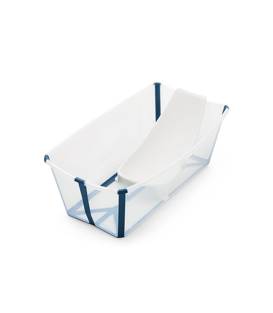 stokke flexi bath bath tub transparent blue with newborn insert