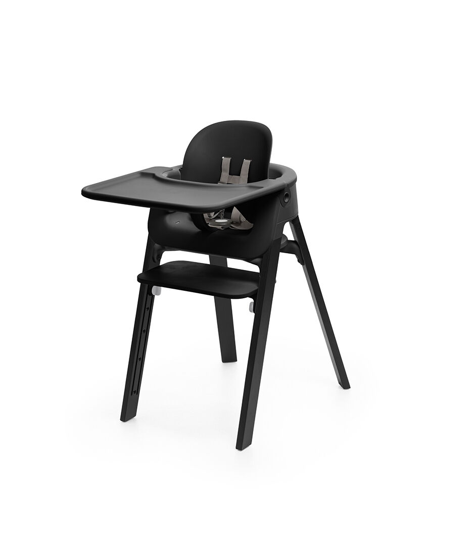 high chair with accessories cheap patio chairs stokke steps baby set black tray mounted on highchair