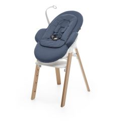Stokke High Chair Round Folding Target Steps Bouncer Blue Mounted On Highchair