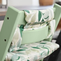 Z Shaped High Chair How To Cover Office With Fabric Tripp Trapp Natural Moss Green Forest Cushion Detail