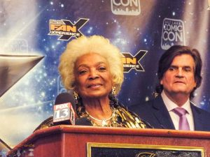 Nichelle Nichols welcoming the press to Salt Lake Comic Con FanX 2015.