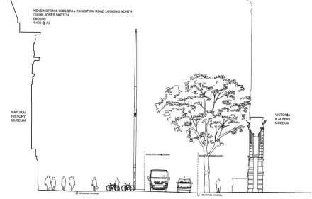 """Naturalmente que também o conceito de """"Shared Spaces"""" não se sustenta sem orientação de tráfego. Assim (em nosso gráfico, da esquerda para direita) a faixa para pedestres, de 4m de largura, é claramente separada """"faixa de transição"""", dos ciclistas, com auxílio de uma drenagem."""