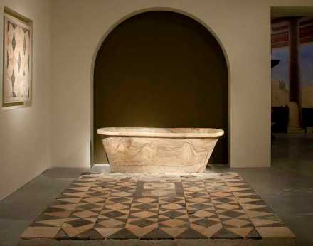 Large bathtub from Cypros and tentative reconstruction of an opus sectile pavement from Cypros and Herodium. Photo: The Israel Museum, Jerusalem / by Elie Posner