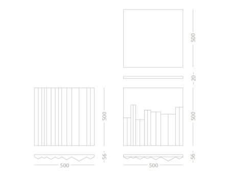 ... linhas retas correm sobre a superfície. O pareamento ou contraste de revestimentos oferece diversas combinações para composições.