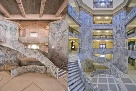 Wie das Gebäude nach 1953 im Inneren aussah (links), mag man nicht mehr glauben.