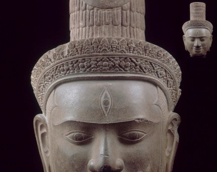 Head of the Shiva Deity, sandstone from the Temple of Phom Bok, 10th century a.D.