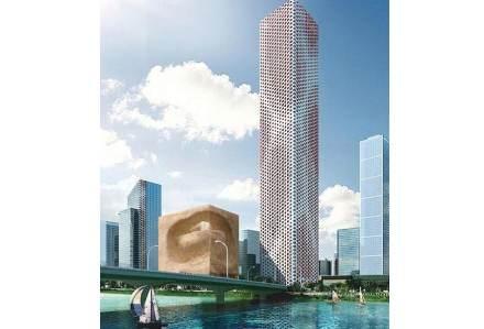 """""""Il cubo"""" di Michele Colpo. Come ogni altra forma il cubo racchiude al suo interno l'impronta di uno degli elementi vitali: l'acqua, celata in una fonte. L'edificio rappresenta uno spazio termale, quasi un rifugio all'interno di un contesto urbano spesso freddo e immobile."""