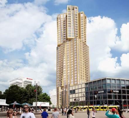 Das neue Wohnhochhaus am Berliner Alexanderplatz. Rendering: Hines Immobilien GmbH