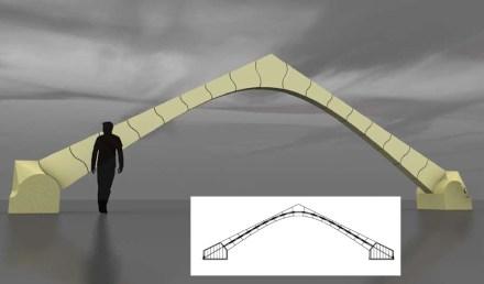 Nel caso di questi archi, dai quali può nascere per esempio un padiglione, i singoli pezzi hanno una forma ondulata su due lati. Questo li mantiene ulteriormente fissati al loro posto. Inoltre: attraverso le singole pietre nell' arco passa una fune di acciaio a mo' di tirante.