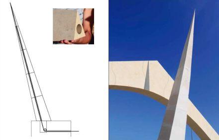Una de estas construcciones tensadas se usa también en el obelisco inclinado, que podría utilizarse, por ejemplo, como puntero de un reloj de sol.