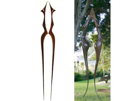"Anna Korver: ""Dual figure"" (left), bronze, ""Lady hook"", swamp matai."