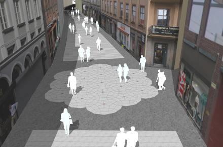 """La """"alfombra"""" se interrumpe en la zona donde una calle lateral desemboca en Kullagatan."""